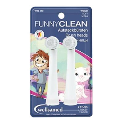 Wellsamed наконечник за ел. четка Funny Clean 2 бр. ; Блистер