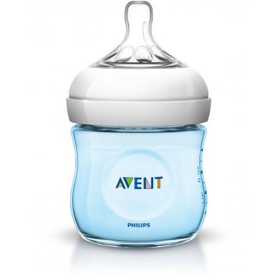 Avent бутилка Natural 125 мл биберон 1 дупка 0м+ син цвят