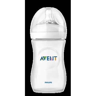 Avent бутилка Natural 260 мл биберон 2 дупки 1м+ неутрален цвят