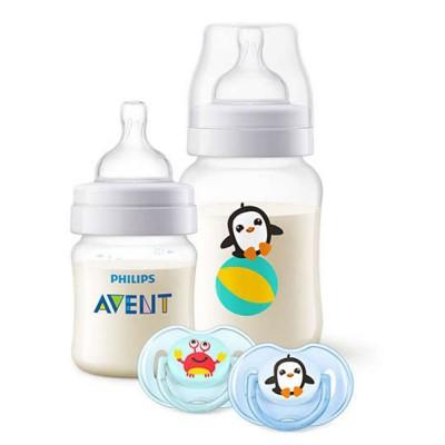 Avent комплект Classic+ SEA Gift Set Пингвин /1 бутилки 125 мл , 1 бутилки 260 мл, 2 бр.залъгалки