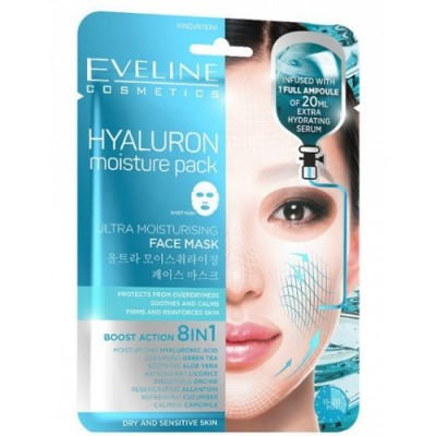 "Eveline корейска ""sheet"" маска за лице с хиалурон, 20 мл серум"