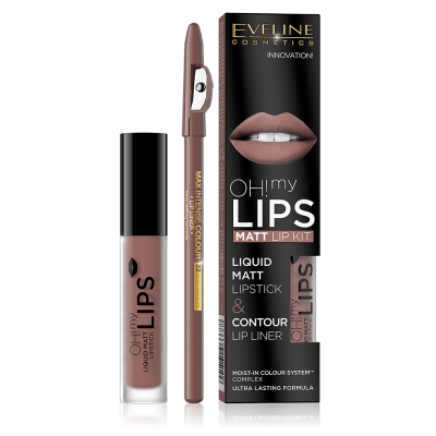 Eveline червило течно+молив устни oh my lips №02